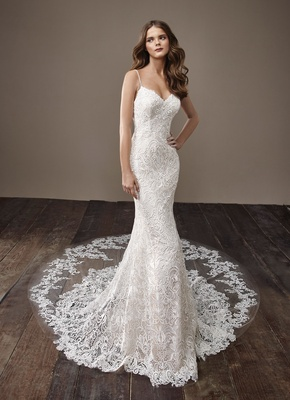 Badgley Mischka Bride 2018 collection wedding dress spaghetti strap bridal gown Brenda lace dress