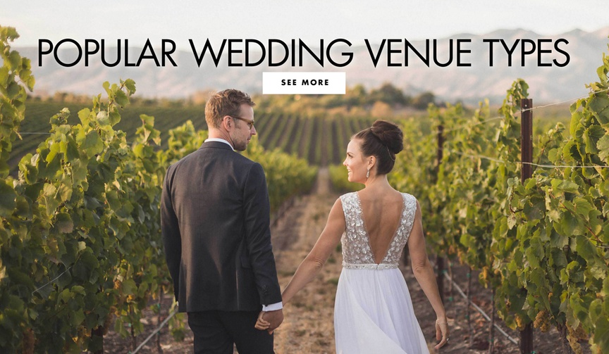 bride and groom at vineyard wedding winery popular wedding venue types