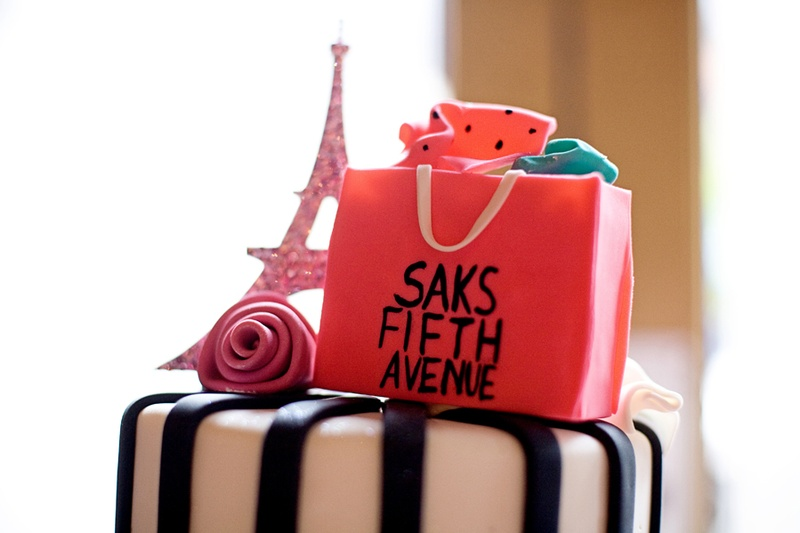 eiffel tower and saks fifth avenue cake topper