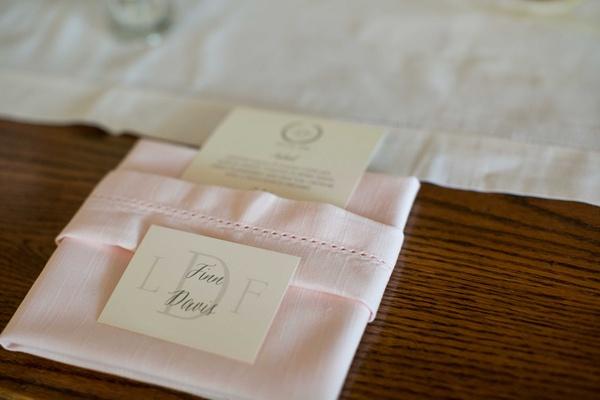 grooms place card pink napkin calligraphy menu