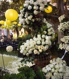 Aisle decoration with garland of white roses