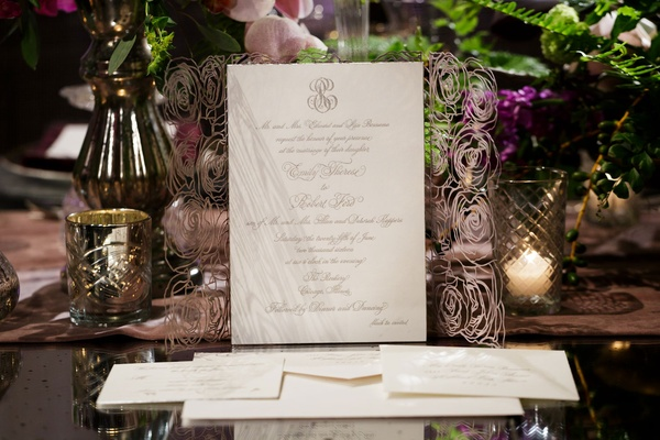 elizabeth grace invitations, delicate laser-cut rose pattern foldout
