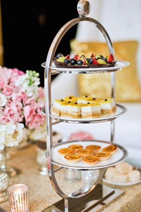 Tea sandwiches and desserts at wedding styled shoot