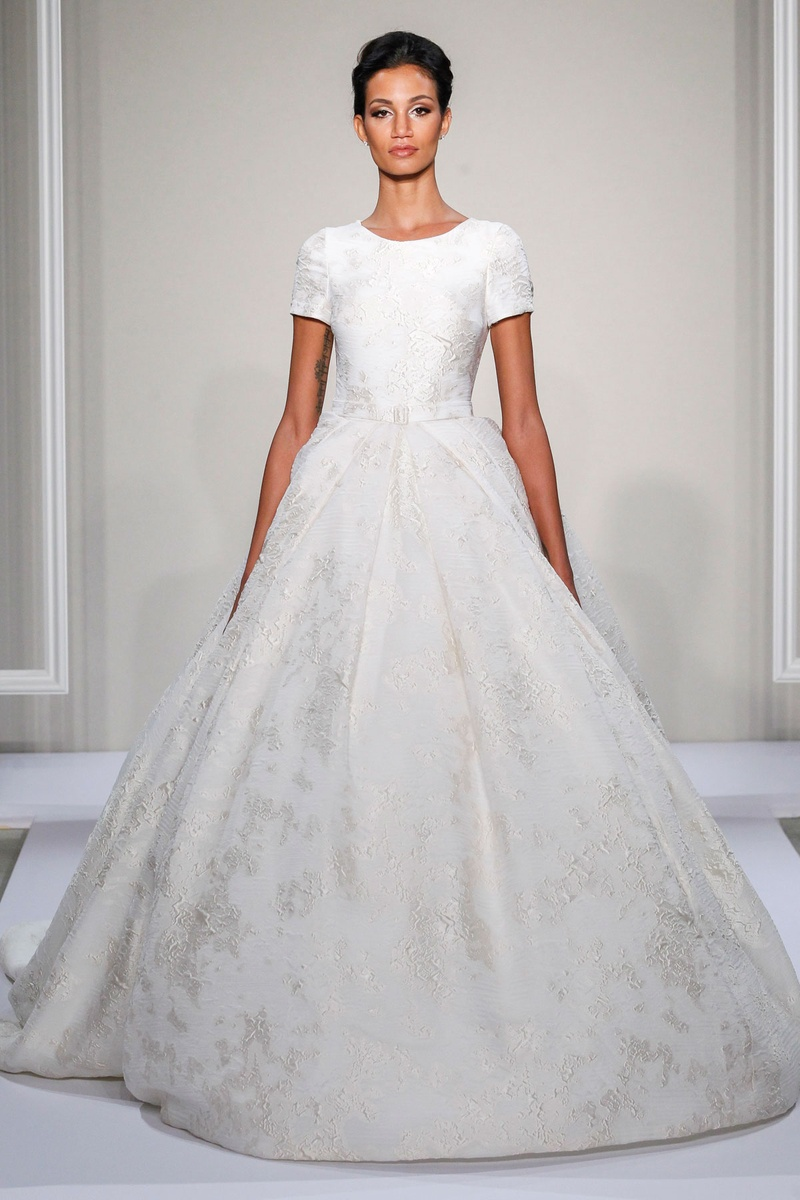 Dennis Basso 2016 short sleeve silk jacquard ball gown