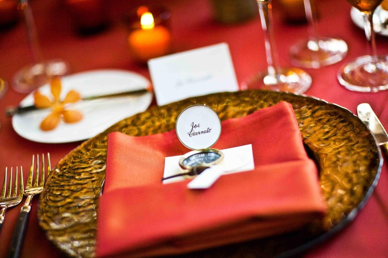 Compass used as seating card for a wedding reception