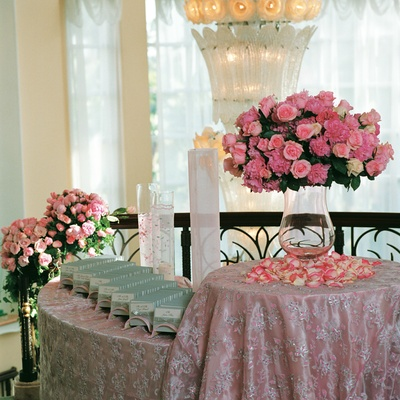 Sparkling tablecloths to hold blue place cards