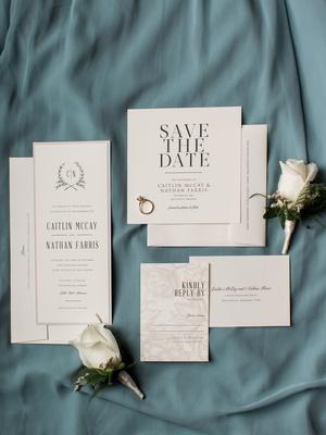 modern crisp invitation suite, rsvp card with rose background