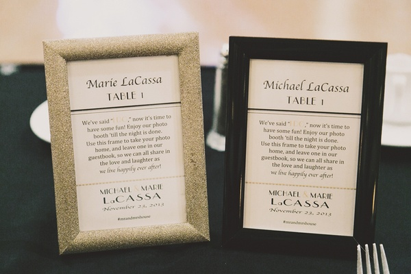 gold and black frame table assignments