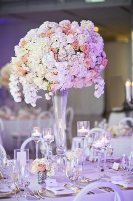 wedding centerpieces with white orchids, ivory hydrangeas, peach roses