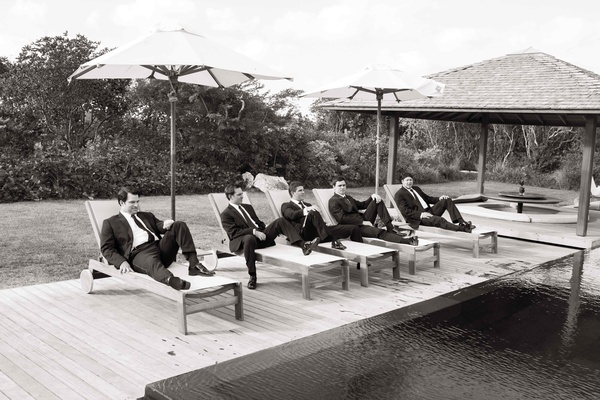 Black and white photo of groom and groomsmen in Turks & Caicos
