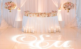 Wedding reception pink and gold white color palette lighting design gobo monogram on dance floor
