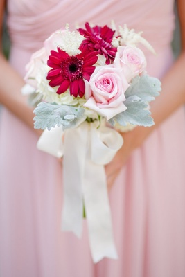 Bouquet with dusty miller, pink rose, fuchsia daisy, and white flowers