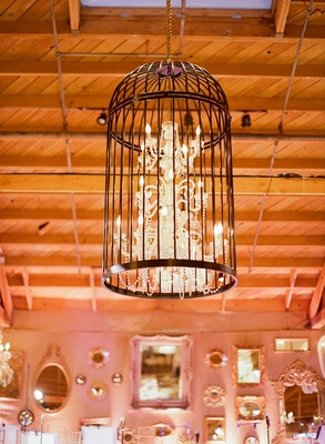Crystal lighting fixture in open birdcage