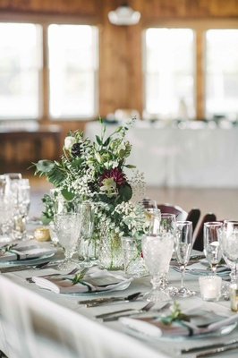 simple green based tablescape color palette burgundy hint long maine wedding peaks island