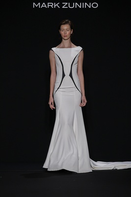 Mark Zunino for Kleinfeld 2016 black and white wedding dress with high neckline