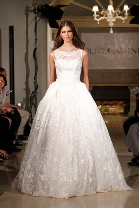 Oleg Cassini Fall 2018 bridal collection lace ball gown with illusion neckline and chapel train