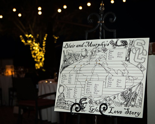 Wedding at night sign with sketches drawings of globe world with travels of couple and where met