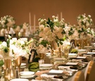 long reception tables mirror tops gold silver white green square ballroom wedding reception modern