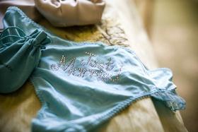 Tiffany blue underwear with rhinestone Just Married on butt