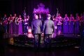 Gay wedding with purple altar and lighting at NYC theatre