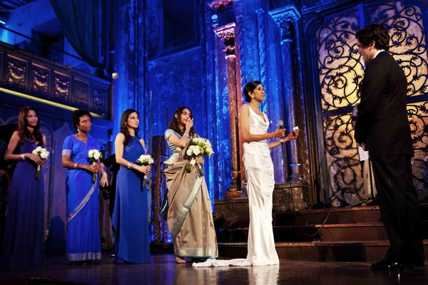 Angel Orensanz wedding ceremony with bright blue lighting