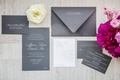 sophisticated gray silver invitation suite calligraphy new york city wedding paper goods