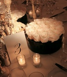 Wedding reception table number and round, white rose centerpiece