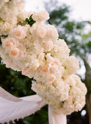 Chuppah with light peach roses and white hydrangeas