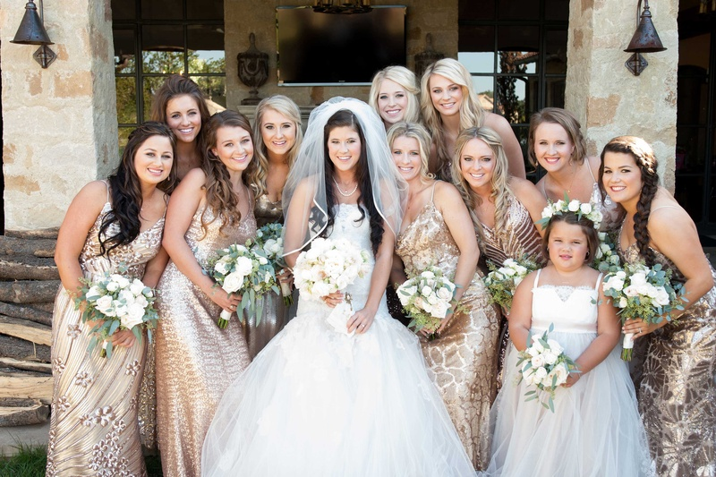 Bride In Monique Lhuillier Wedding Dress And Veil With Flower Girl Bridesmaids Gold Gowns