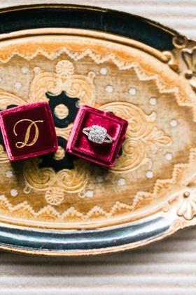 The Mrs. Box burgundy with gold monogram letter initial large diamond engagement ring split shank