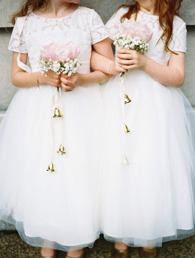 Flower girls ring bearers photos peony babys breath bouquets flower girl bouquet with bells hanging down pink peony with babys breath izmirmasajfo
