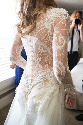 bridal gown illusion back buttons galia lahav designer wedding low risque design