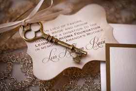 wedding favor charitable donation skeleton key charm