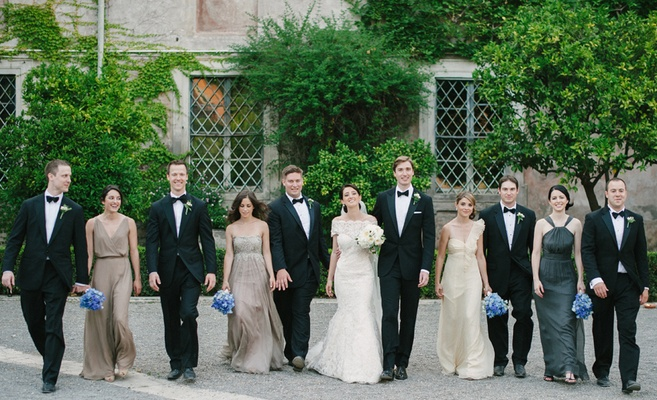 Champagne, taupe, and gray mismatched bridesmaid dresses
