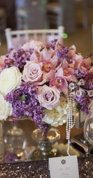 Pink and purple flowers with crystals and pearls
