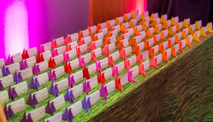 wedding reception ombre purple pink orange yellow paper crane origami