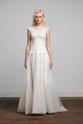 Joy Collection Barbara Kavchok Samantha wedding dress lace bateau neckline cap sleeve gown
