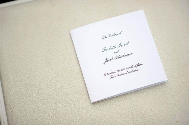 Square shaped ceremony booklet