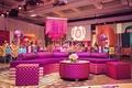 fuchsia lounge furniture and lamp at sangeet indian wedding
