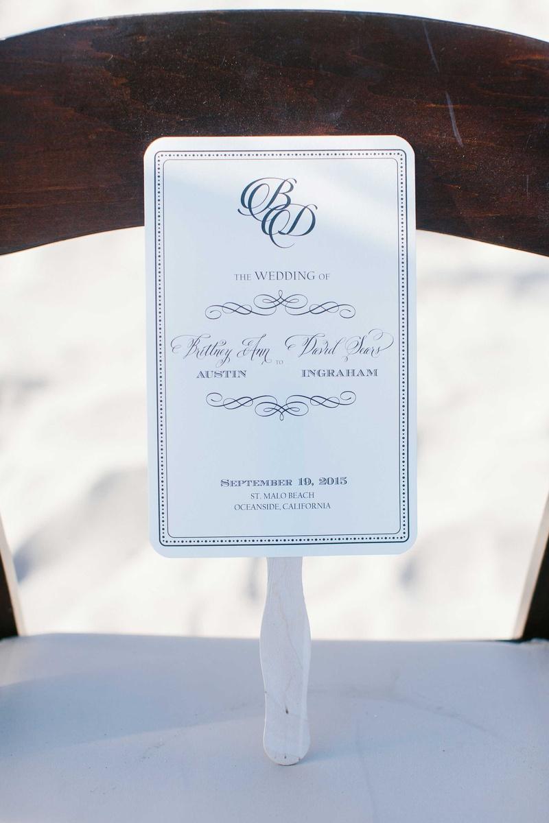 blue white ceremony program fan calligraphy beach wedding california pacific ocean