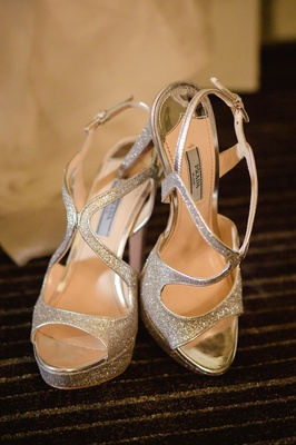 Glitter Prada heels with peep-toe and ankle strap