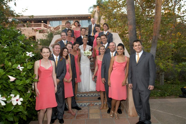 Bride and groom with bridesmaids and groomsmen at hacienda