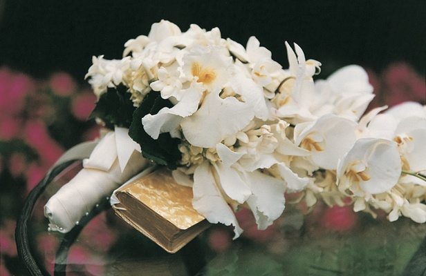 White orchid and stephanotis wedding flowers