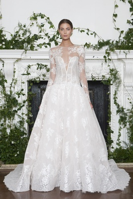 Monique Lhuillier Fall 2018 lace illusion neckline, dropped waist ball gown detachable long sleeves