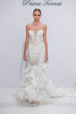Pnina Tornai for Kleinfeld 2017 Dimensions Collection mermaid wedding dress with ruffles on skirt
