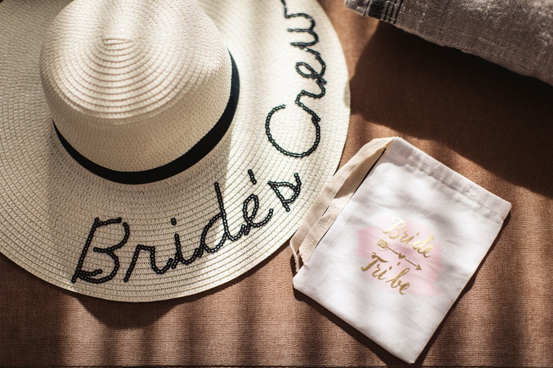 """destination wedding bridesmaid gifts, floppy hat embroidered with """"Bride's Crew"""""""