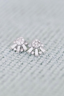 Art Deco inspired diamond earrings bride wore for her wedding