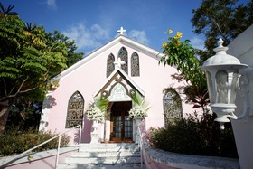 Harbour Island, Bahamas wedding ceremony venue little pink church with crosses and stained glass