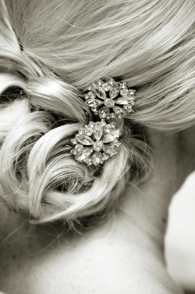 Black and white photo of diamond hair accessories