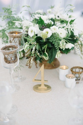 table number foliage gold details votives baskets white beach wedding oceanside california reception
